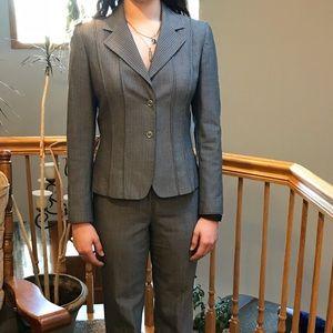 Steel gray pinstripe Tahari pant suit